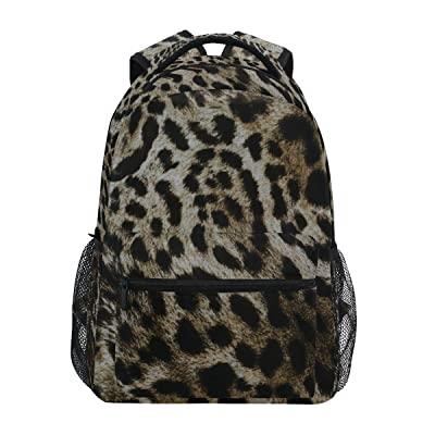 ZZKKO Black and White Leopard Print Backpacks College School Book Bag Travel Hiking Camping Daypack