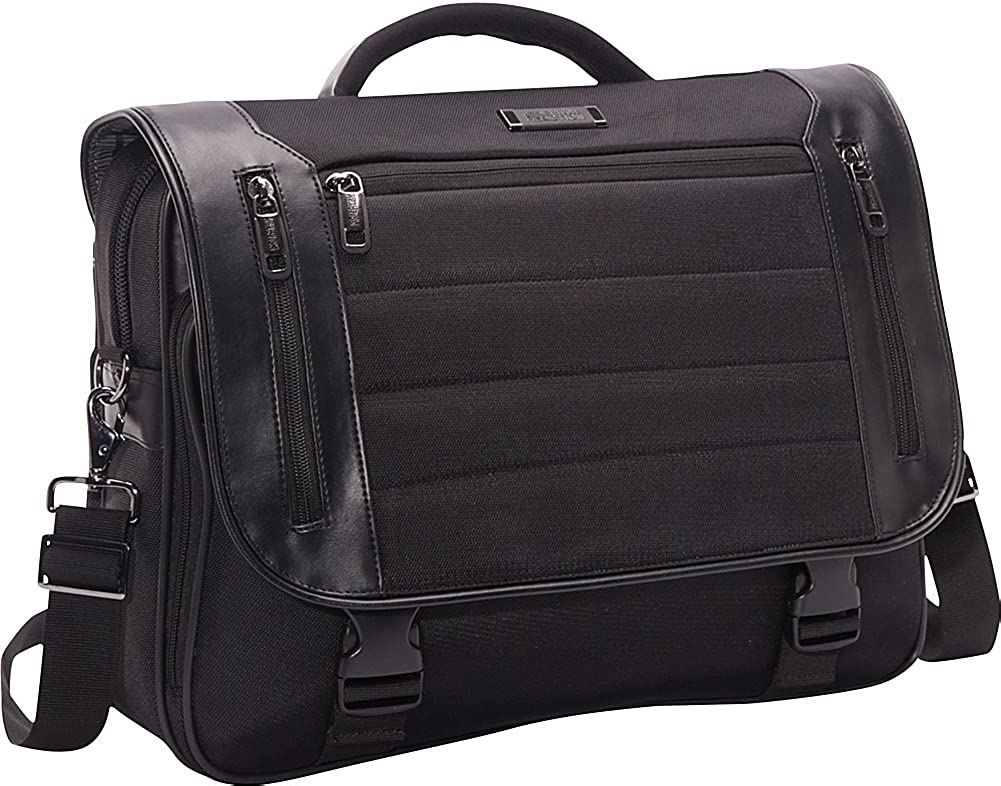 "Kenneth Cole Reaction Triple Compartment Flapover 17.3"" Laptop Business Portfolio, Black"