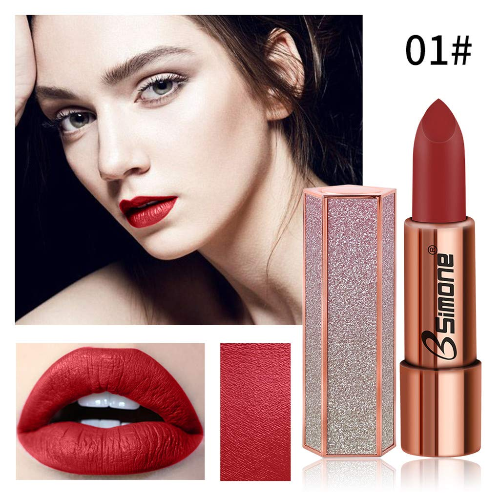 Zlolia Lipstick Matt Waterproof Long Lasting Lip Cosmetic Beauty Makeup-Free Nourishing Lipstick in Vibrant Shades