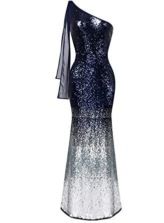 Alices Prom Womens Asymmetric Ribbon Gradual Sequin Mermaid Long Prom Dress ...