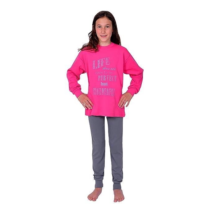Betz Pijamas para chicas 2 piezas manga larga con bordado Life color rosa tallas 116-