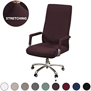 Turquoize Computer Chair Slipcover Office Chair Cover Stretch Furniture Cover Computer Rotating Chair Cover with Armrest Covers Machine Washable Chair Cover for Office, Only Cover, Medium, Brown