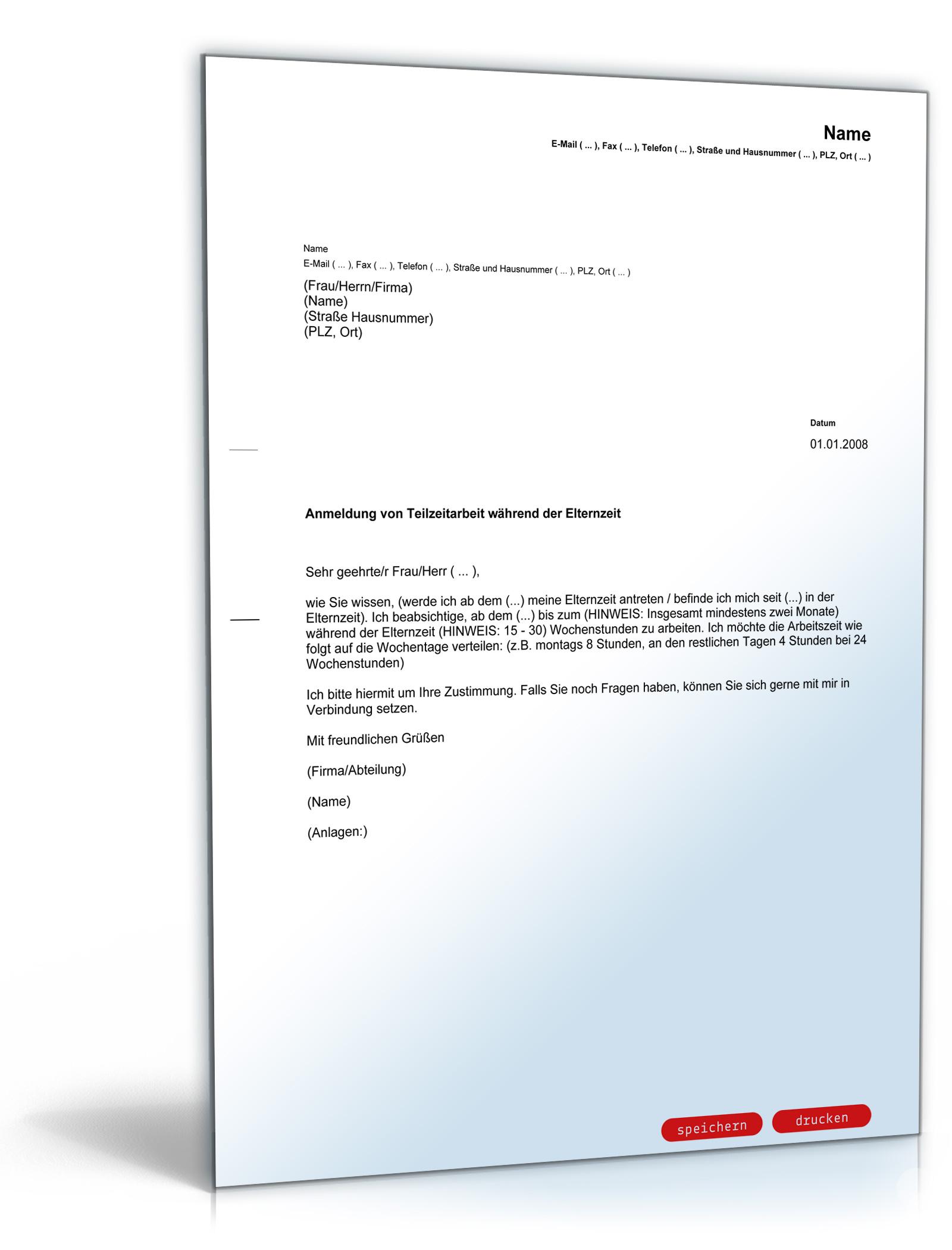 antrag teilzeitarbeit whrend elternzeit pdf download download amazonde software - Antrag Elternzeit Arbeitgeber Muster