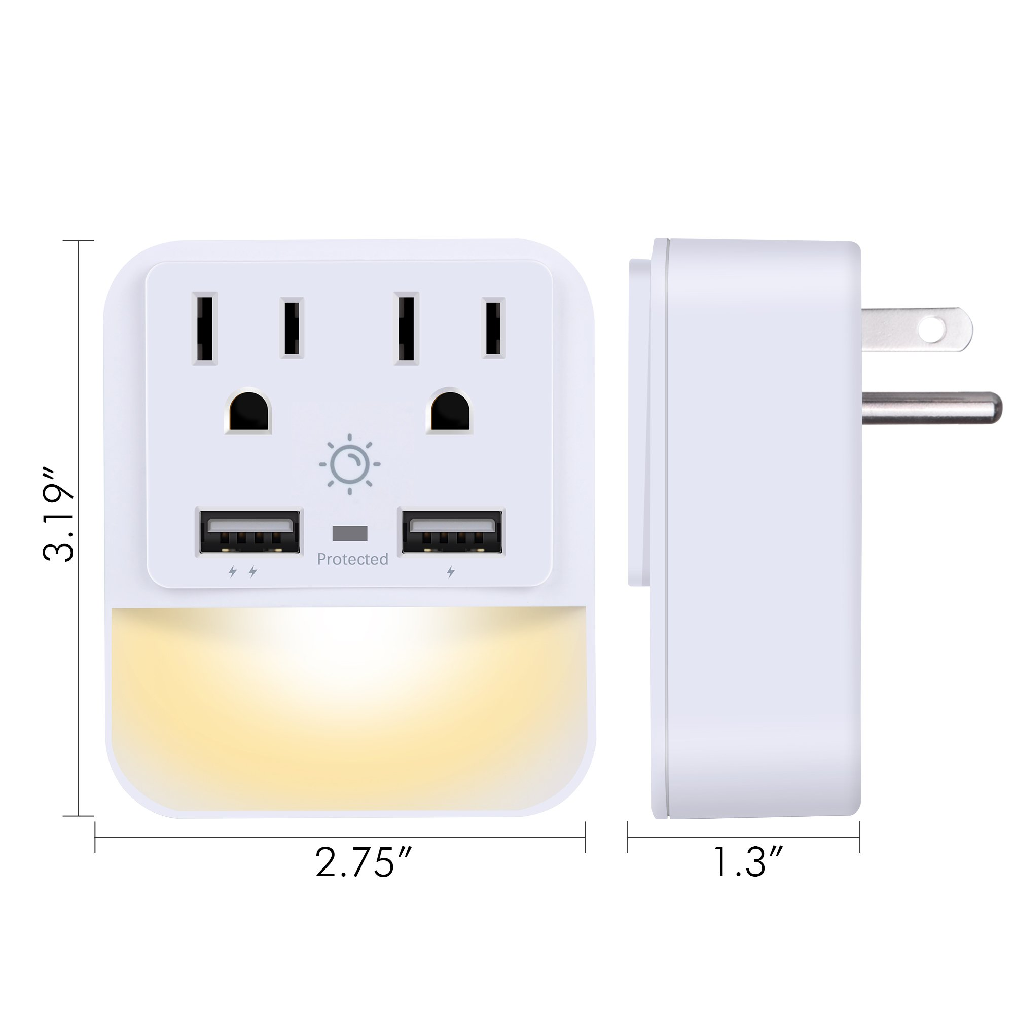 USB Wall Charger, Outlet Adapter, POWRUI 2-Pack Surge Protector(1080 Joules) Dual USB Charger Ports(2.4A Total), Dual Outlet Extender Dusk-to-Dawn Sensor Night Light, White, ETL Certified by POWRUI (Image #7)