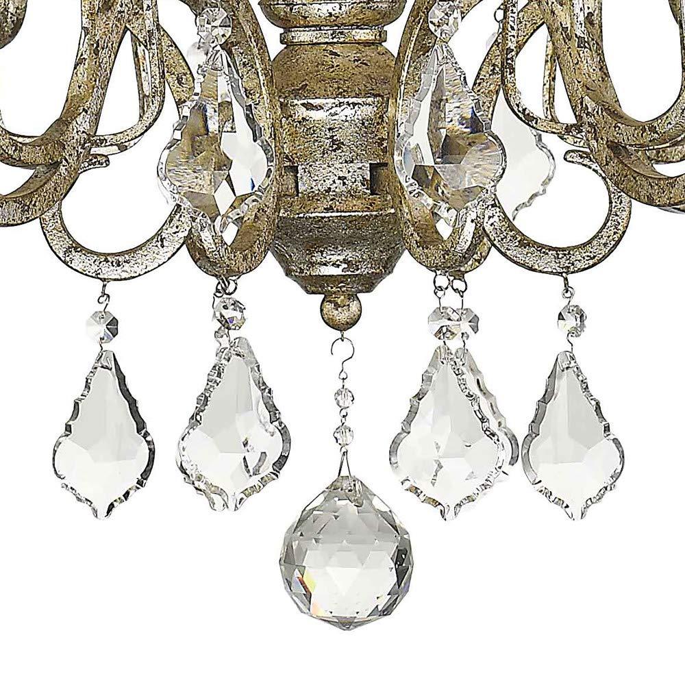 Sir/ét Lighting ST1063-ASL Catelyn 6-Light Antique Silver Leaf Sheer Hardbacked Shade Chandelier