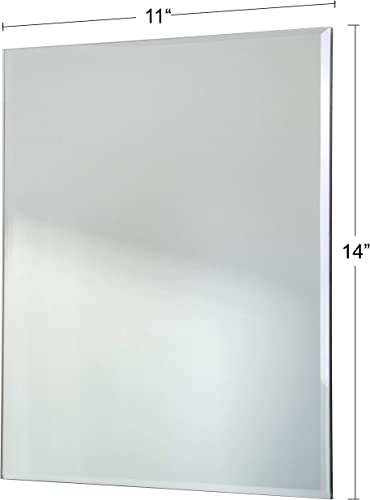 Red Co. Modern Minimalist Rectangular Wall Mirror, Frameless with Beveled Edge, Large, 11×14 Inches