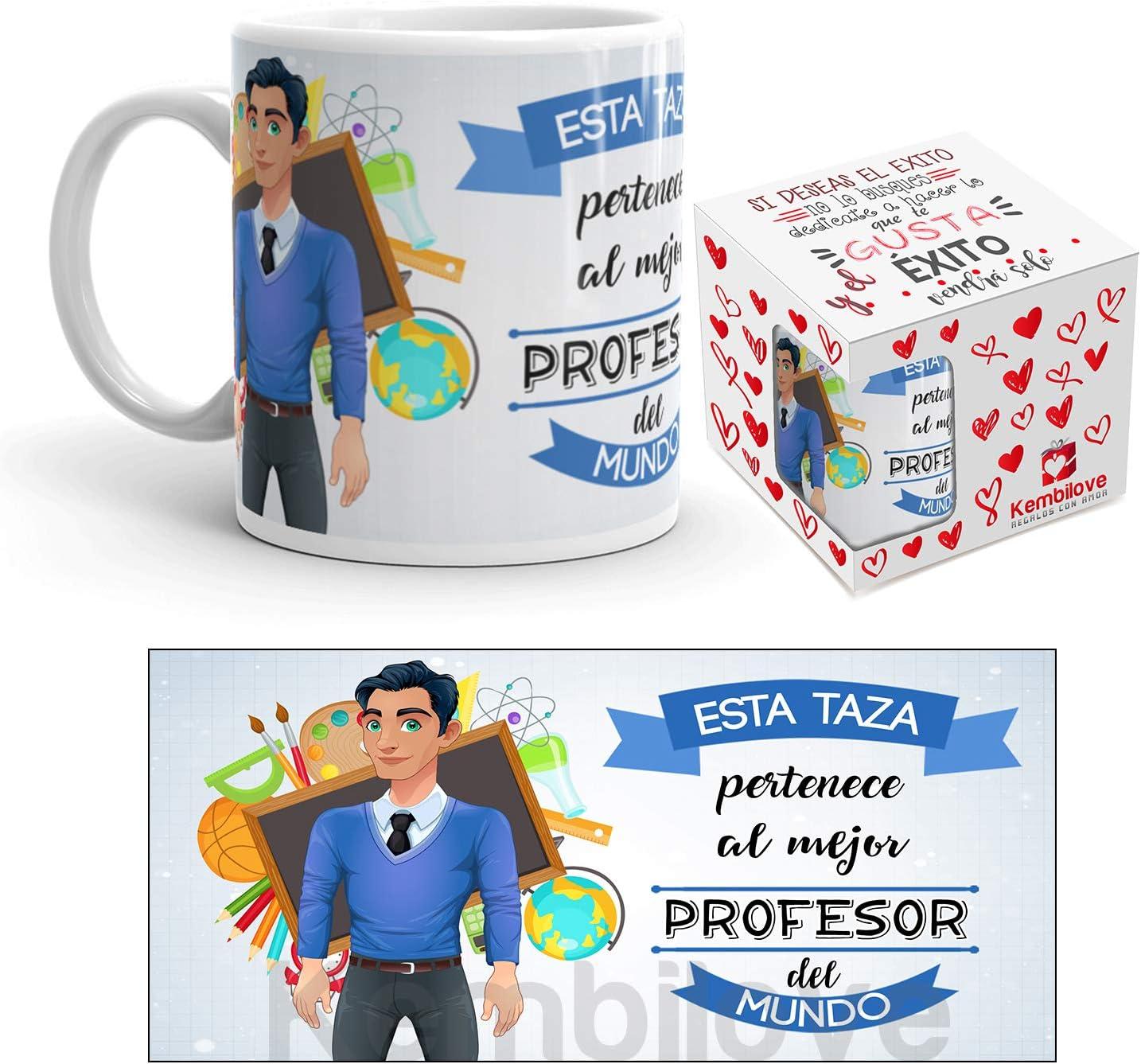 Kembilove Taza de Café del Mejor Profesor del Mundo – Taza de Desayuno para la Oficina – Taza de Café y Té para Profesionales – Taza de Cerámica Impresa – Tazas de Jefe de 350 ml para Profesores