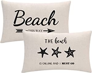 ULOVE LOVE YOURSELF Black Beach Decor Throw Pillow Cover with Beach Quote/Starfish Cushion Covers Summer Holiday Beach Decorative Lumber Pillowcases 12x20 inch,Set of 2