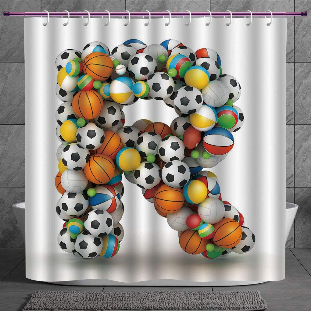 amazon com scocici polyester shower curtain 2 0 letter r rh amazon com