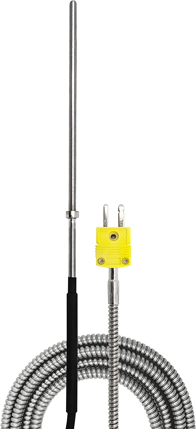 PerfectPrime TL3162K K-Type Thermocouple Temperature Sensor Probes 316L stainless steel 752°F, 7.3in Long