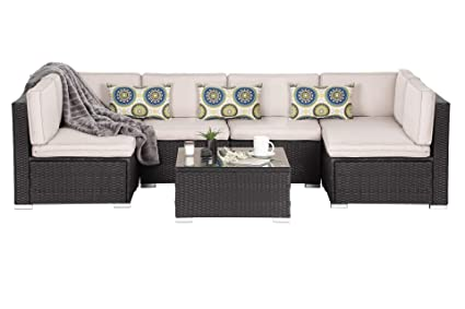 OAKVILLE FURNITURE Luxury Modern 7-Piece Outdoor Patio Garden Furniture  Wicker Rattan Sectional Sofa Conversation Set, Black Wicker, Beige Cushion