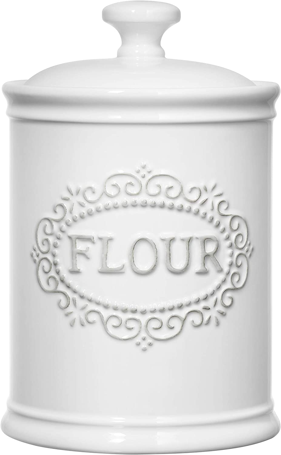 Flour Container Airtight, Porcelain Kitchen Storage Containers Flour Canister Farmhouse Kitchen Decor, Ceramic Storage Jar With Lid White, TAWCHES