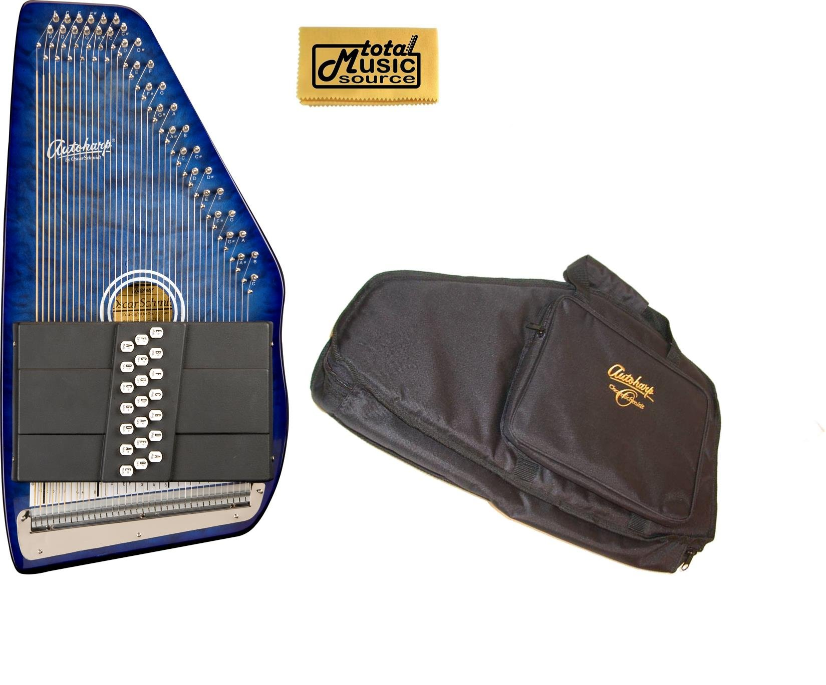Oscar Schmidt 21 Chord Classic Autoharp, OS21CQTBL Trans Blue, with Matching AC445 Gig Bag, Quilted Maple Top