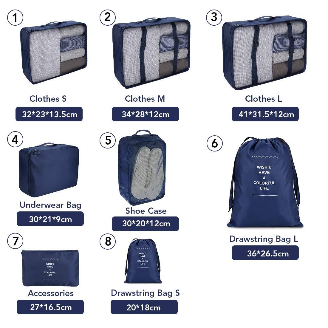 Chaussures et Cosm/étiques 8Pcs Organisateurs demballage Bagage de Voyage Les Sacs dans Valise pour Les V/êtements Bleu Fonc/é Organiseur de Bagage