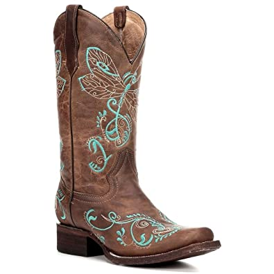 Women's Embroidered Dragonfly Cowgirl Boot Square Toe Tan 10 M US