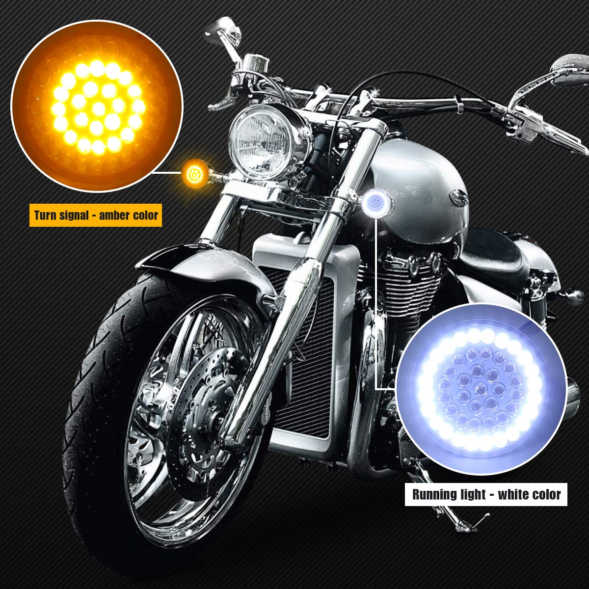 Pair Motorcycle 2 Inch Bullet Style 1157 Front White DRL Amber Turn Signal LED Inserts for Harley Softail 2011-2017 Dyna 2012-2017 Sportster Touring 2014-2017