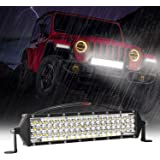 Zmoon LED Light Bar 12 Inch 264w 26400Lm LED Work Light Spot Flood Combo Led Bar Off-Road Lights Driving Lights Led Fog…