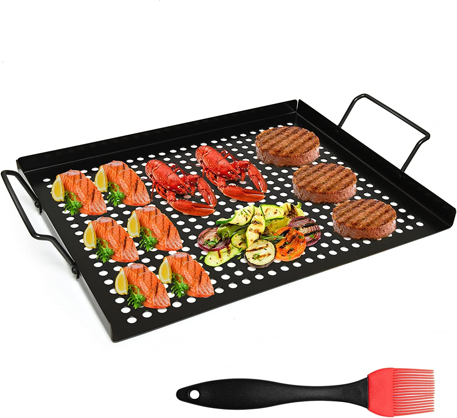 AQUEENLY Grill Basket Nonstick Grill Topper with Holes, BBQ Grill Tray Vegetable Grill Pans for Outdoor Grill, Grill Wok Grill Cookware Grill Accessories for Vegetable, Meat, Fish, Shrimp 17