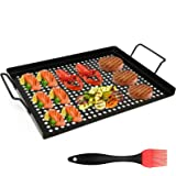 AQUEENLY Grill Basket Nonstick Grill Topper with Holes, BBQ Grill Tray Vegetable Grill Pans for Outdoor Grill, Grill Wok Gril