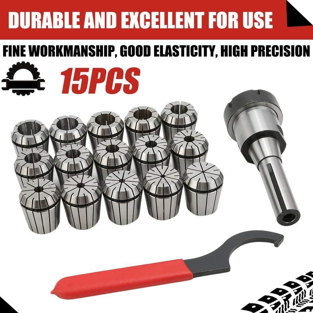 Homgrace 15 Pcs Collet Set R8 Shank ER40 Collet Chuck Holder Spring Collet Set for CNC Engraving Machine & Milling Lathe Tool