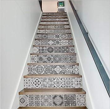 13 Pcs Pegatinas De Escaleras. Adhesivos De Pared En Blanco Y Negro. Adhesivos De Suelo Autoadhesivos De Bricolaje Escalera De Casa Decorada 18 × 100Cm.: Amazon.es: Hogar