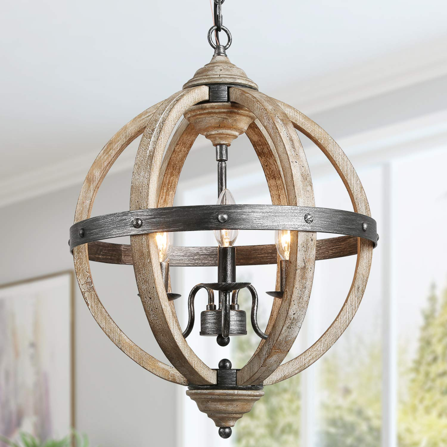 "KSANA Orb Chandelier, Farmhouse Wood Chandeliers for Dining Rooms in Rustic Wood and Hand-Painted Black Metal Finish, W15.7""xH21.5"""