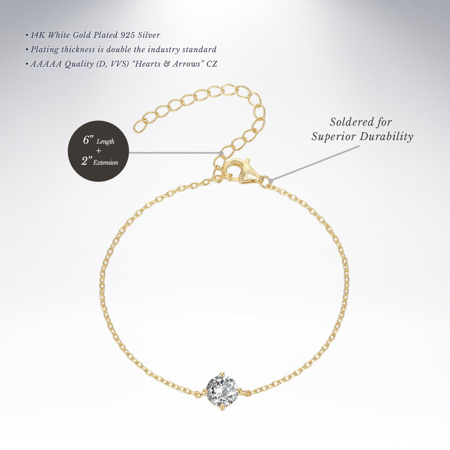 PAVOI 14K Gold Plated Simulated Solitaire Diamond Bracelet - Yellow by PAVOI (Image #2)