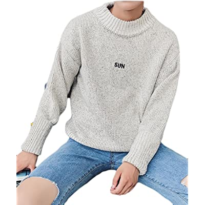WSPLYSPJY Mens Fashion Letter Print Sweaters Long Sleeve Crew-Neck Knit Pullover