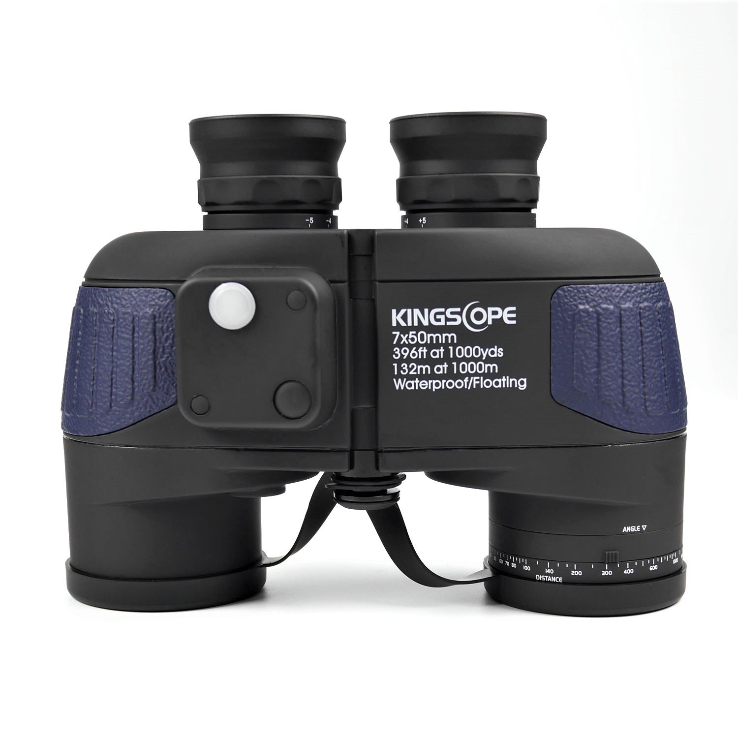 Kingscope 7X50 HD Military Marine Binoculars with Illuminated Reticle Rangefinder Compass, BAK4 Porro Prism – Floating Waterproof Fogproof for Navigation, Boating, Fishing, Water Sports, Hunting