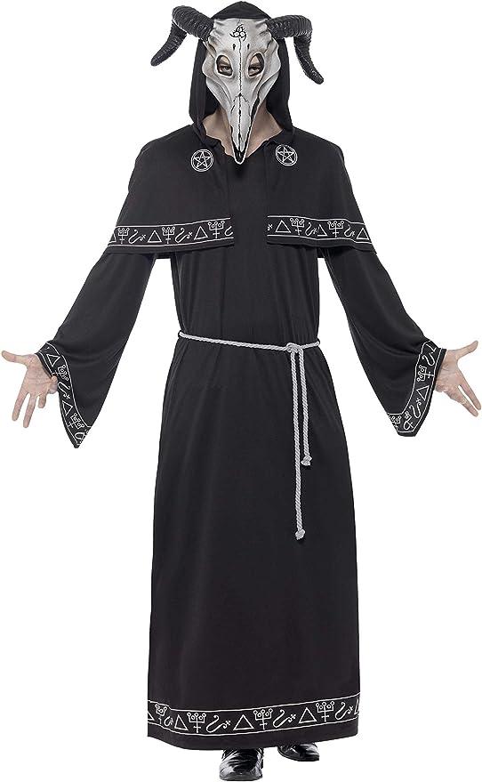 Smiffys Disfraz de líder de Culto, Negro, con túnica, cinturón y ...
