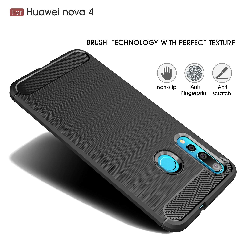 Coque-Etui-Housse-Silicone-brossee-Fibre-de-carbone-Noir-Protection-Huawei miniature 31