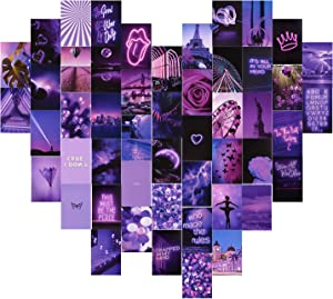 CCJK Wall Collage Kit , 50Pcs Wall Aesthetic Photo Collage, Bedroom Decor for Teen Girls, Purple Neon Collage Kit for Wall Aesthetic , Aesthetic Pictures For Room Decor,Postcard Collage Kits (4