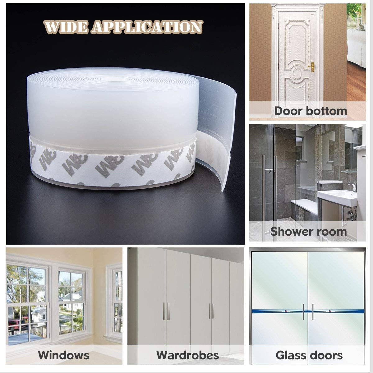 Shower Door Seal Strip Transparent,16.5Ft Long X 1.77 Inch Width Self Adhesive Doors and Windows Weather Stripping Glass Shower Door Bottom Seal Strip