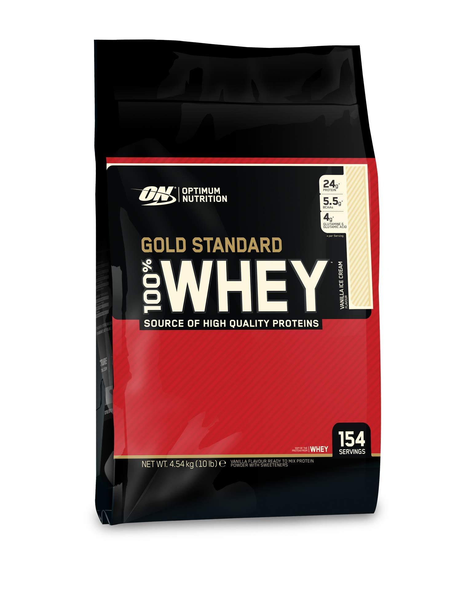 OPTIMUM NUTRITION Gold Standard 100% Whey Protein Powder, Vanilla Ice Cream, 10 Pound by Optimum Nutrition