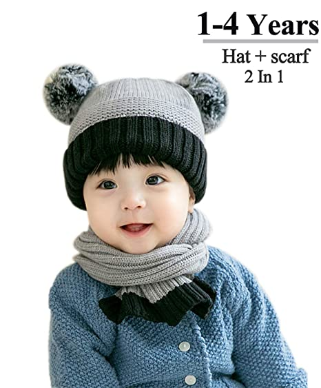 69ca95b7200 Baby Winter Beanie Hat Scarf –Grey Gray Beige Pink Navy Toddler kids Girl  Crochet Kit