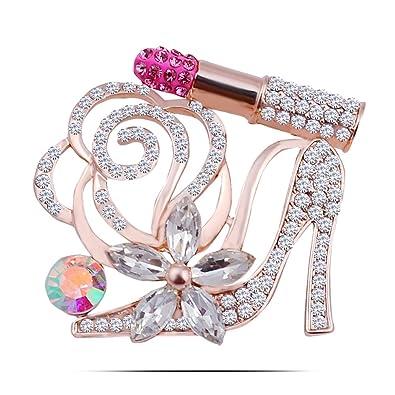 Delightful Lily Jewellery Women Fashion Rose Flower High Heel Lipstick Brooch Costume  Jewelry
