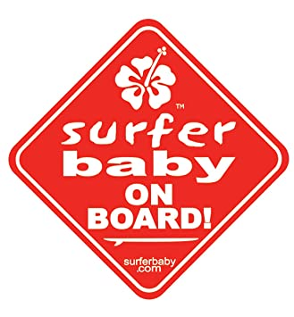 surfer baby on board car safety window sticker sign red
