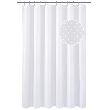 N&Y HOME Hotel Fabric Shower Curtain Liner or Shower Curtain, Mildew Resistant, Washable & Water Repellent, Diamond Patterned White, 71 x 72 inches for Bathroom