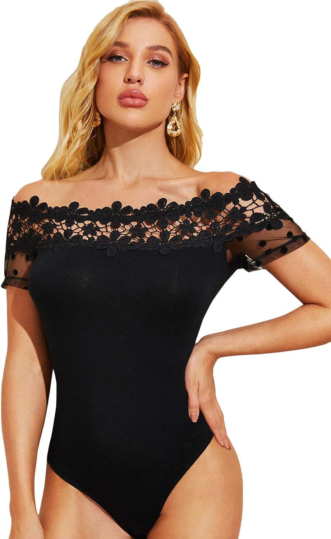 Romwe Women's Elegant Off Shoulder Lace Polka Dots Short Sleeve Bodysuit