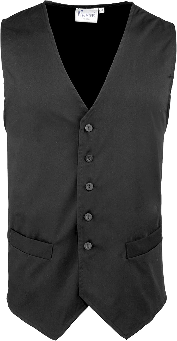 Premier Mens Workwear Hospitality Catering Waistcoat New