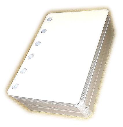 Recambio Agenda con seis agujeros - Tamaño del papel A7 8x12cm pocket mini - Paquete de 200 hojas - papiel 120gr
