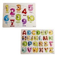 Inizio di apprendimento prescolare precoce educazione allo sviluppo Colorful 26 pezzi alfabeti e 10 pezzi Numero di legno Peg Puzzle Bundle Giocattoli Forma e giochi per bambini bambino bambini bambini del bambino ragazze dei ragazzi