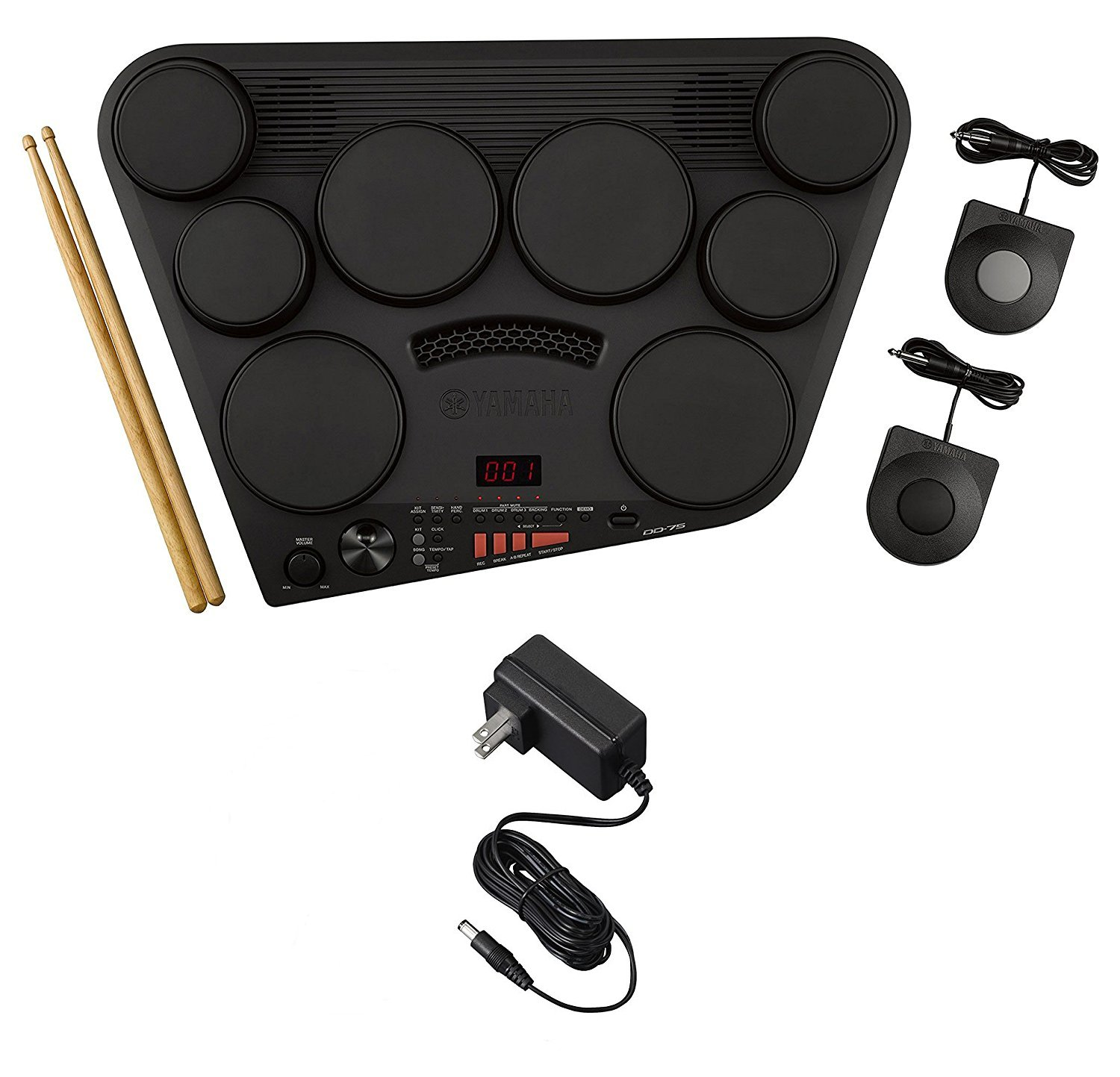 Yamaha DD75AD Portable Digital Drums Package with 2 Pedals, Drumsticks - Power Supply Included by YAMAHA