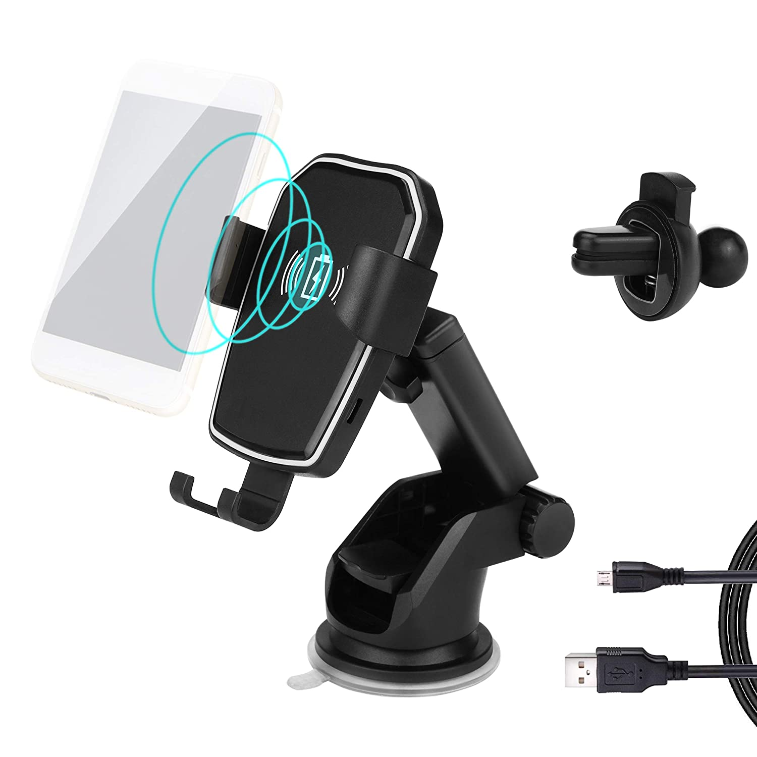YATA Wireless Car Charger Mount Air Vent 2 in 1 Automatic Gravity Clamp Fast Quick Charging Compatible with iPhone Xs Max XR X 8 Plus Compatible Samsung Galaxy S9 S8 S7 Plus Note 9 8 5 Qi Enable Phone Discover New World