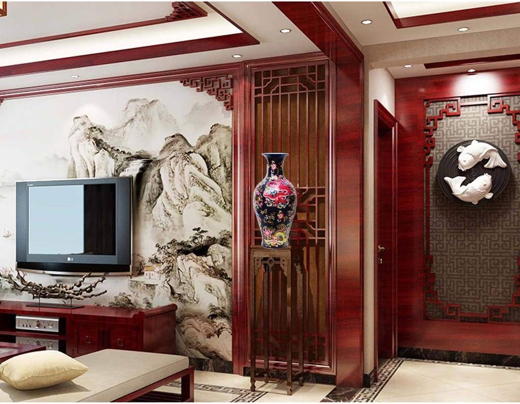 Jarrones Floreros cerámica Planta Permanente Grande clásicos for secar Flores de decoración del hogar del Arte del hogar Sala de Estar del Dormitorio del Hotel Oficina Negro 31 x 66,5 cm: Amazon.es: