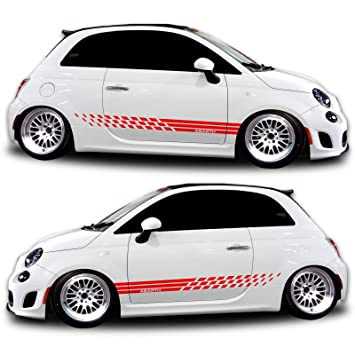 Red fiat 500 abarth side decal graphics racing stripe rocker panel kit