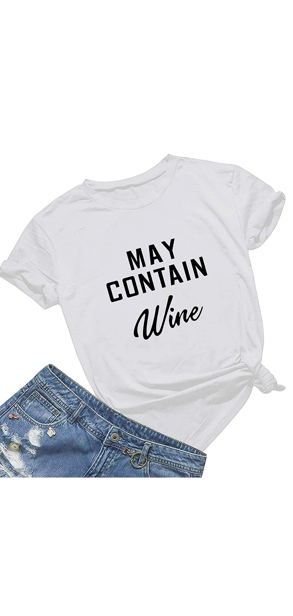 May Contain Wine T Shirt Women' S Letter Print Funny Wine Lovers