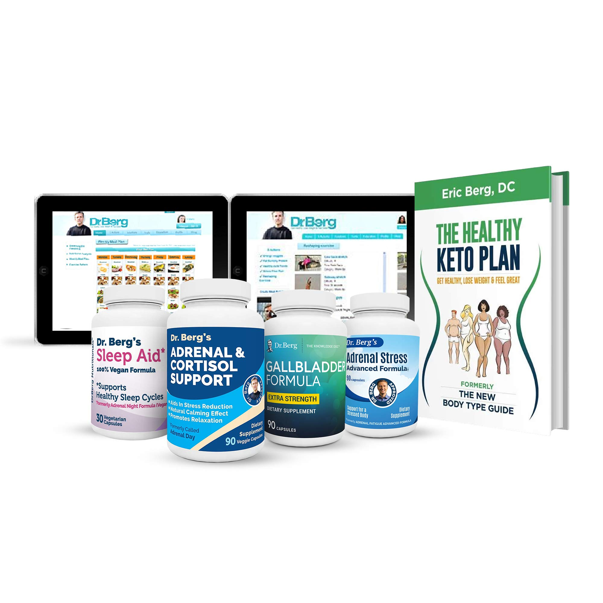 Dr. Berg's Adrenal Body Type Kit Supplement - Complete Daily Support Program for a Healthy Adrenal Body Type – Stress Relief, Fight Fatigue and Belly Fat - Rejuvenate Your Metabolism