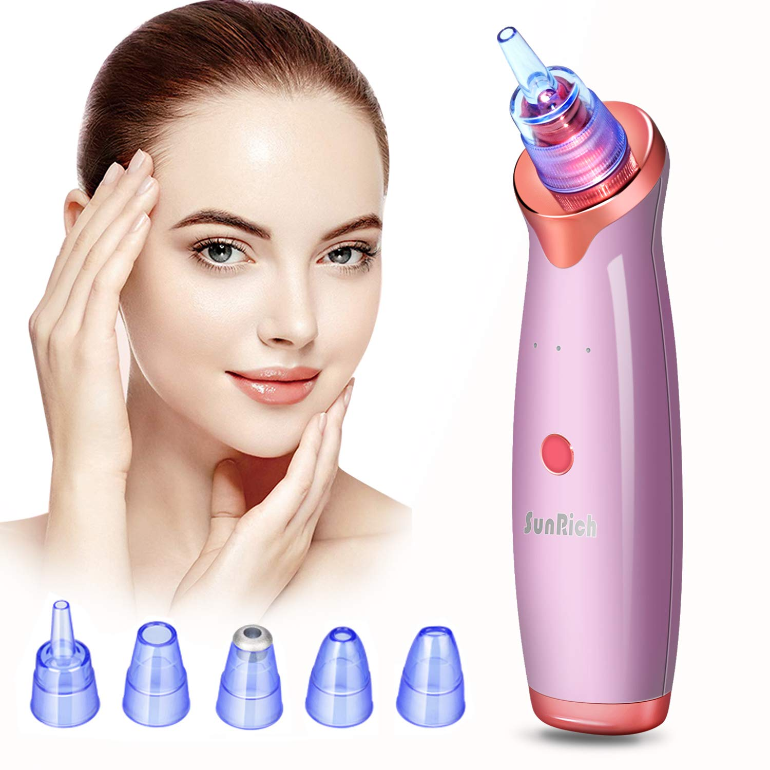 Blackhead Remover Pore Vacuum Electric Facial Acne Pimple Suction Vaccumm Removal Extractor Rechargeable with 5 Probes for Women Men Face Nose Black-Head White-Head Comedone