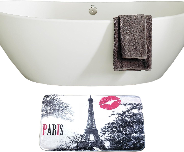 Chic Grey Paris Tower Amagical 16 Piece Chic Grey Paris Eiffel Tower Waterproof Shower Curtain Set Bath Mat Set Contour Mat Toilet Cover Peach Kiss Lips Printed Fabric Curtain with 12 Hooks